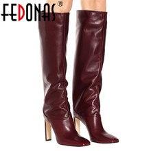 FEDONAS; модные женские сапоги до колена; сезон осень-зима; Теплая обувь для вечеринок; женские мотоботы с квадратным носком на высоком каблуке; высокие сапоги