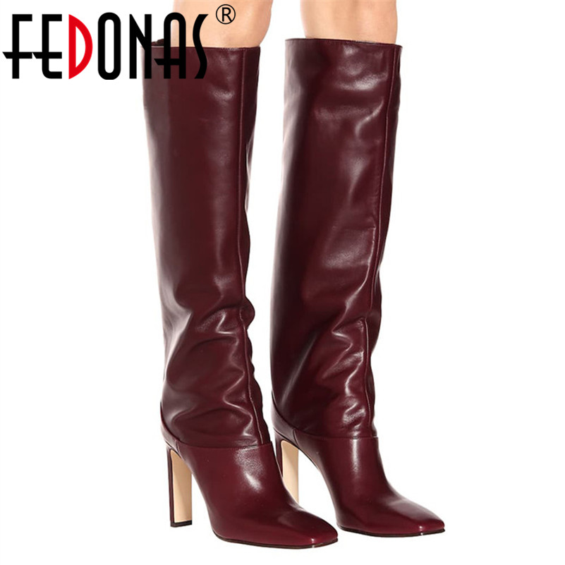 FEDONAS Fashion Women Knee High Boots Autumn Winter Warm Party Shoes Woman Square Toe High Heeled Motorcycle Boots Long Shoes-in Knee-High Boots from Shoes