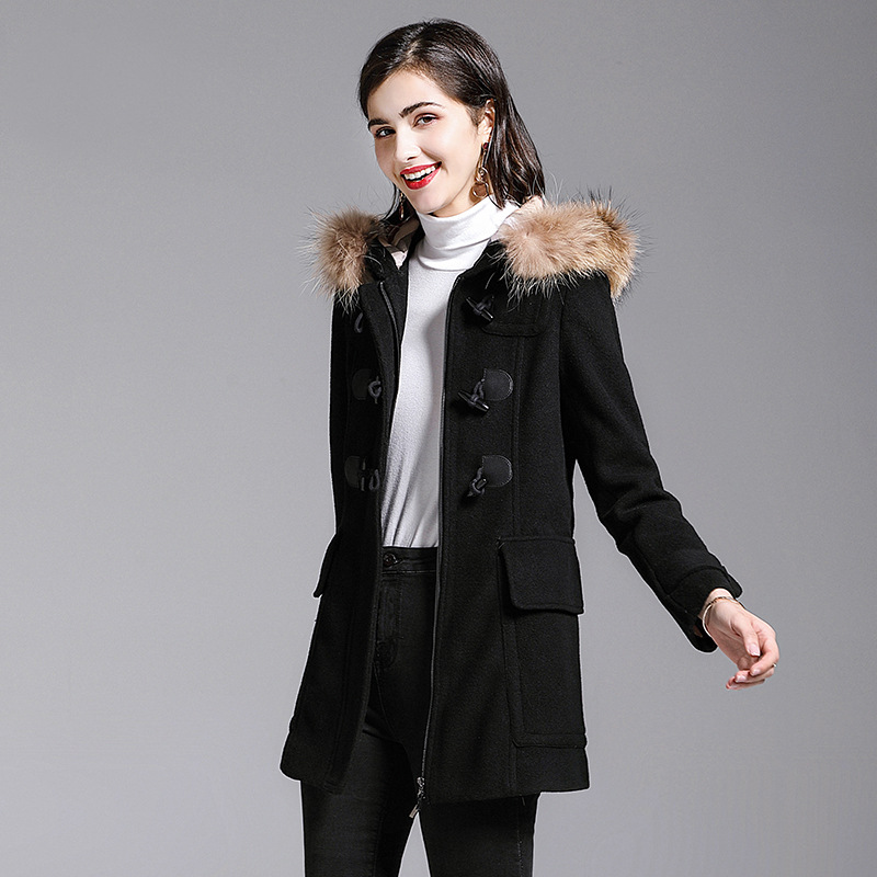 2016 European and American Fashion Large Section of Women's Woolen Coat Jacket Temperament Big Yards Thick Ladies Windbreaker