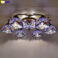 FUMAT Tiffany Style Ceiling Lamp Multi Dragonfly Stained Glass Chandelier Light Nordic Classical Hanging Fixture Rustic Lighting