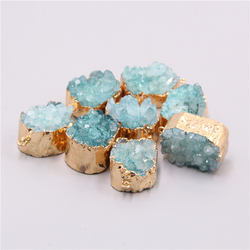 Natural blue druzy crystal quartz pendant charm for necklace jewelry making Accessories women handmade necklace pendant jewelry