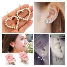 2020 Simple Gold Heart Pearl Drop Earrings For Women Fashion Statement Pearl Dangle Earrings Trendy Jewelry 10g