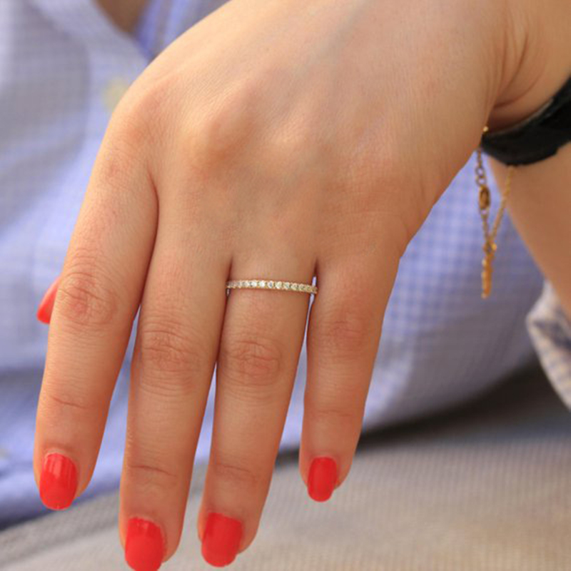 Simple Cubic Zirconia Thin Rings for Woman Elegant Rose Gold color Bridal wedding Party Finger Jewelry girl Gift 4