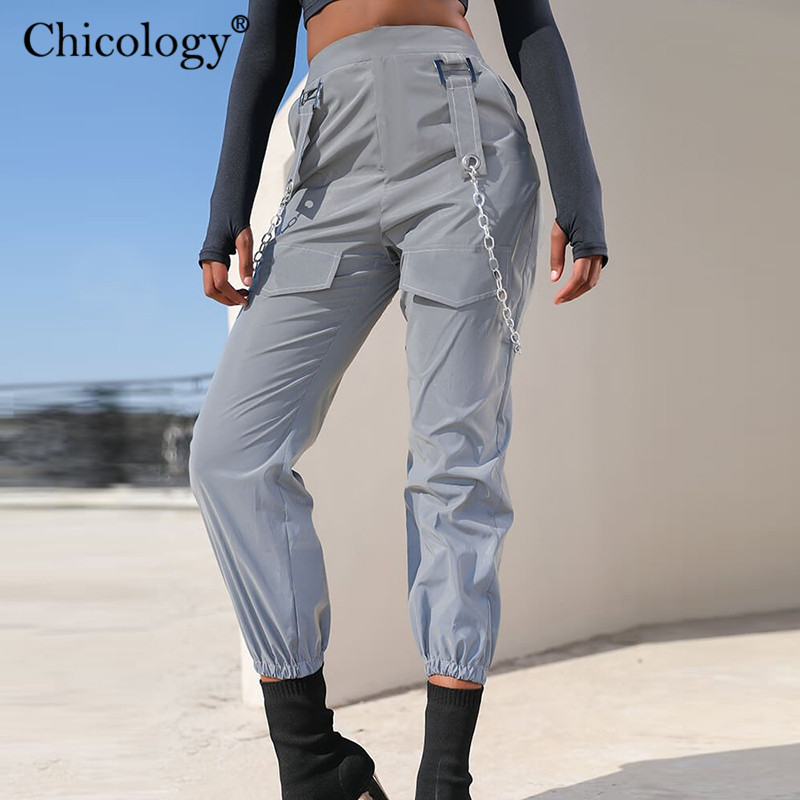 Chicology Flash Reflective Chain Pocket Hight Waist Long Pants Women Streetwear Trousers 2019 Autumn Winter Club Clothes