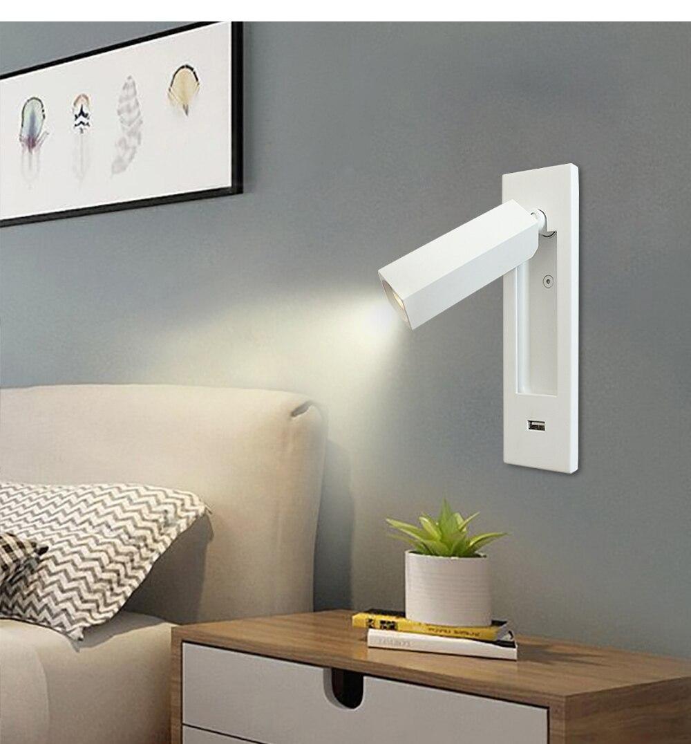 quarto cabeceira leitura iluminação ressessed alumínio wandlamp