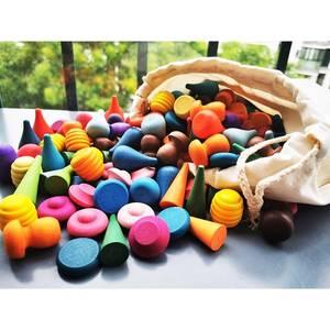 Toy Cones Building-Blocks Mushrooms Loose-Parts Jenga Wooden Honeycomb Beech Flat Children