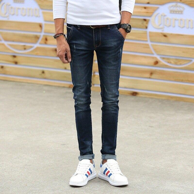 Autumn Elasticity Jeans Men's Autumn Skinny Korean-style Slim Fit Students Men Small Trousers Teenager BOY'S Trend