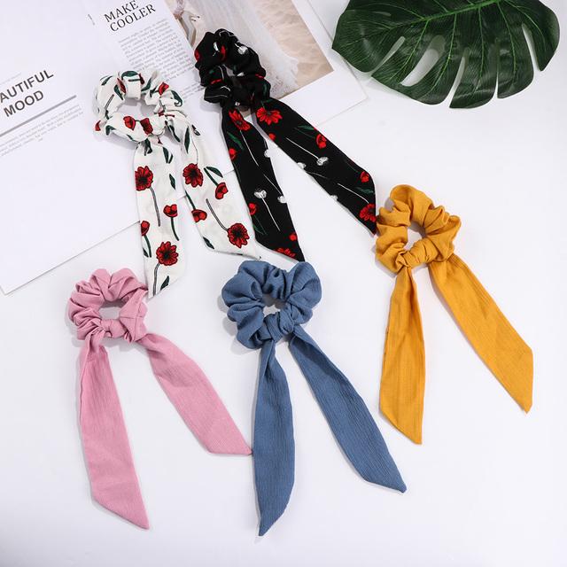 Fashion Women Floral Print Scrunchie Hair Scarf Elastic Bohemian Hairband Bow Hair Rubber Ropes Girls Hair