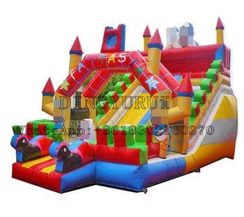 цена на Outdoor Long Inflatable Slide Jumper Bouncy PVC Slide Kids Amusement Park with Cartoon Theme