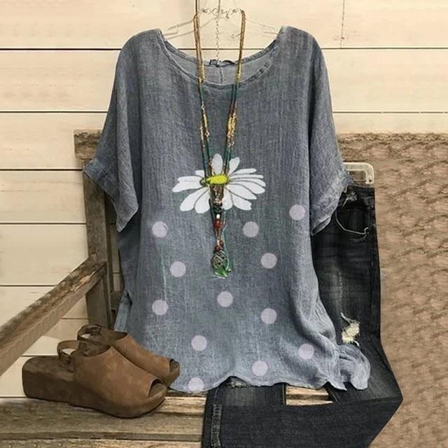 Fashion Women Blouses Casual Floral Point Print O-neck Short Sleeve Shirts Blouse Women Summer Top Blusas Kobiety Bluzki @47 2