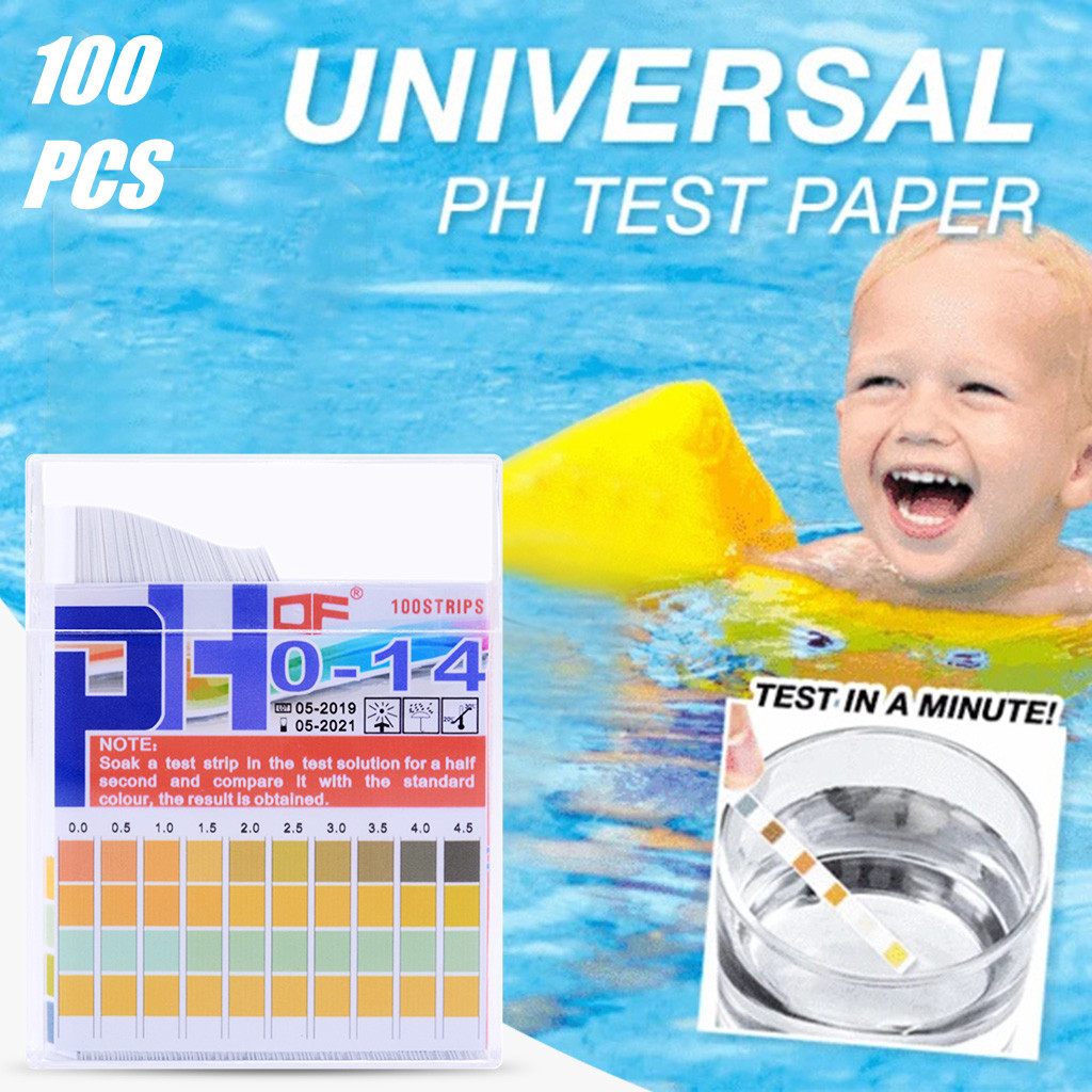 100pcs Swimming Pool PH Test Strips Paper Residual Chlorine PH Value Alkalinity Hardness Test Strip PH Tester Pool CleanD0
