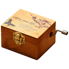 Kids Carved Wooden Music Box Home Decora
