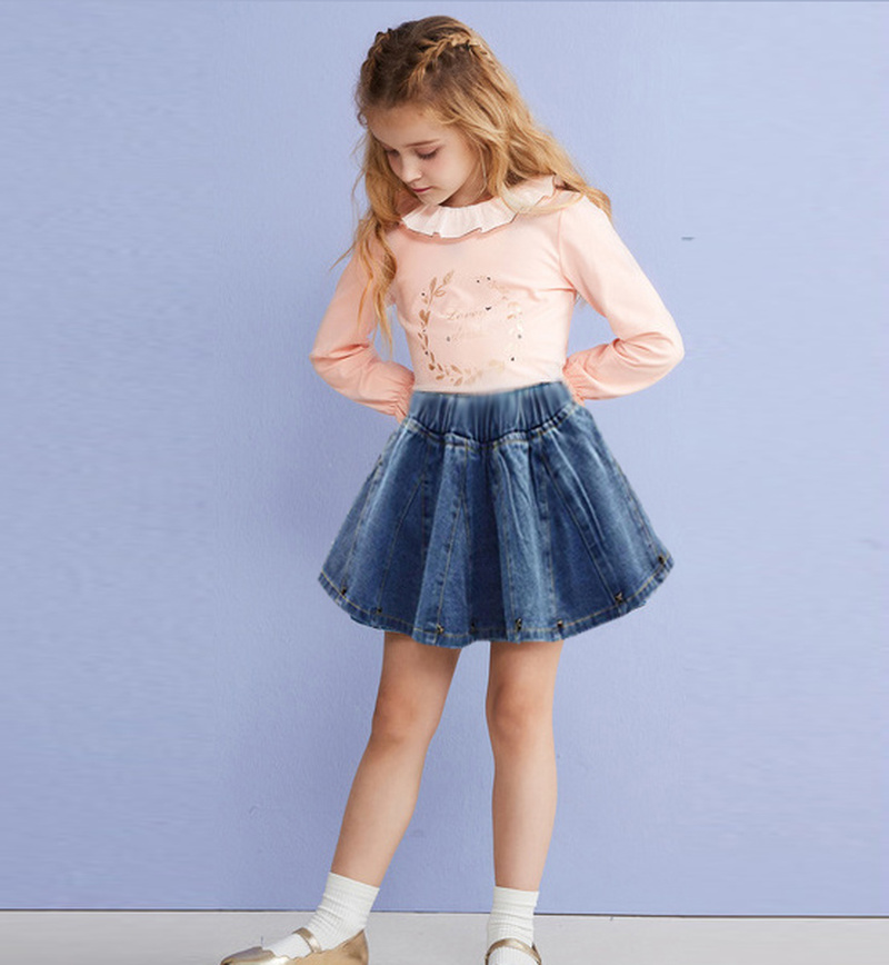 Girls Skirt 2019 Baby Girl Denim Skirt Toddler Children Denim Skirt Autumn Cute Baby Children Kids Rivet Skirt Children
