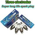 10PCS 3 elektroden Zündkerze L7T für BM6A BMR6A WS6E WS7E BPMR6A WS7F CJ7Y W20MU M6 M7 BPMR7A 2  hub kette sah feld mäher-in Zündkerzen & Glühkerzen aus Kraftfahrzeuge und Motorräder bei