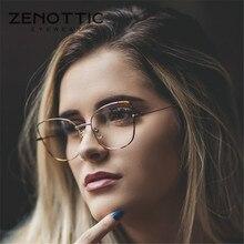 ZENOTTIC kedi göz gözlük çerçeve kadın basit Metal reçete gözlük çerçevesi temizle reçine Lens miyopi optik gözlük 2020