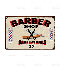 [XIEXIE]Customizable Sign Metal Tin Plaque Wall Decor For barber shop decor Vintage Signs Iron Painting20x30CM