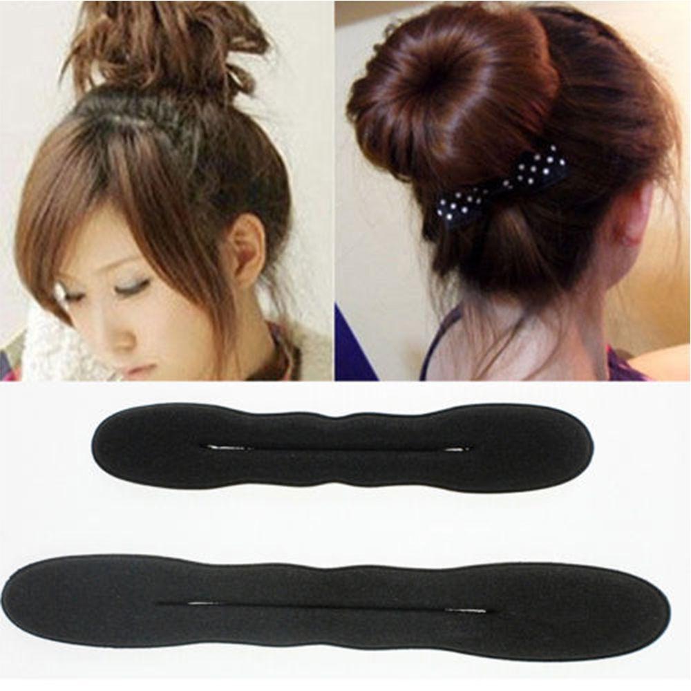 2 adet (bir büyük başka bir küçük) saç şekillendirici sihirli sünger klip köpük Bun bigudi saç büküm yapımcısı aracı sıcak satış