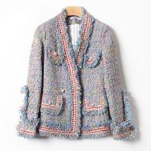 Tal vez U mujeres azul Rosa tweed chaqueta cuello pico de manga larga perlas de imitación botón bolsillo flecos abrigo pequeña fragancia C0167
