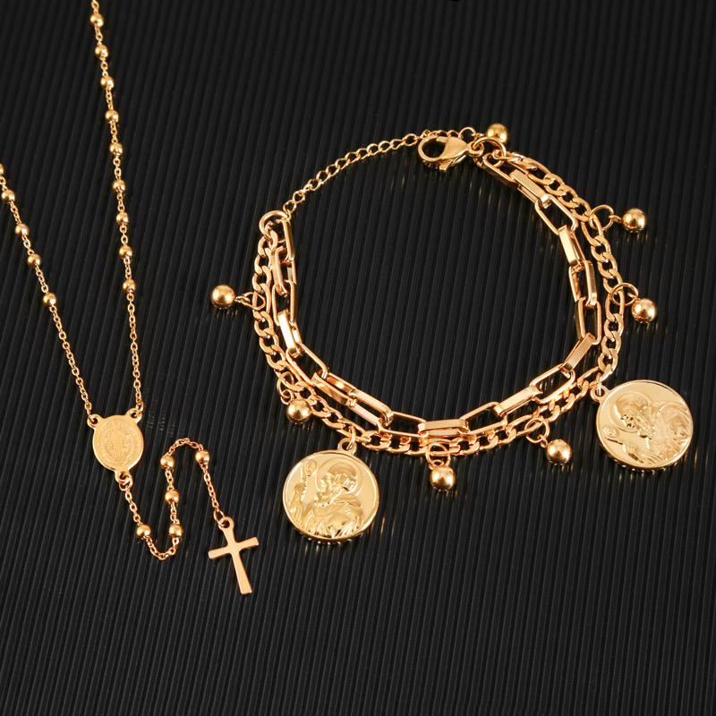 WENDYFO New Women Fashion Stainless Steel Cross Necklace Gold Color Christ Crucifix Long Beads Rosary Necklace Religious Jewelry