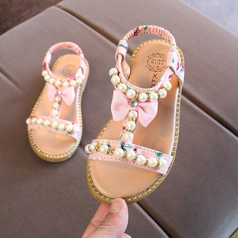 criancas da crianca do bebe das meninas do verao perola beading sandalias para meninas rosa plana
