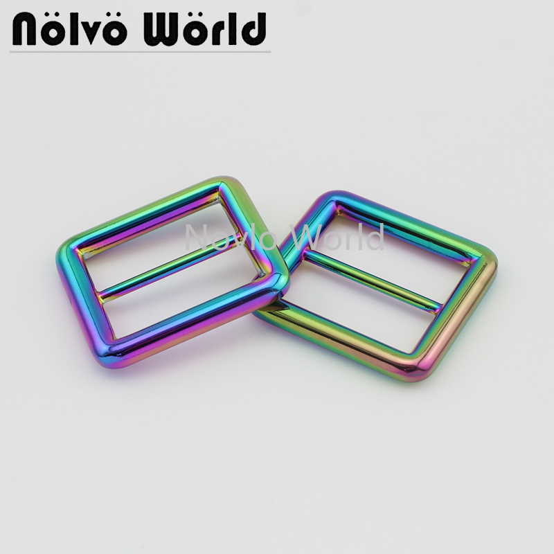 Wholesale 500pcs, Inner Width 26*21mm 1 Inch, Rainbow Metal Tri-slided Buckle Handbags Belt Adjustment Buckle Accessories