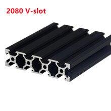 1Pcs/lot BLACK 2080 V-Slot European Standard Anodized Aluminum Profile Extrusion 100-500mm Length Linear Rail for CNC 3D Printer
