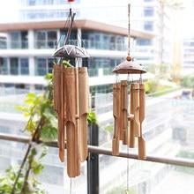 Madeira feito à mão bambu vento chamados ao ar livre vento, cobre chamados janela pendurado decoração