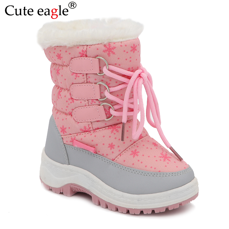 Cute Eagle Kid's Winter Girls Snow Boots Little Princess Outdoor Durable Felt Boots With Zipper Toddler Kids Anti-slip Shoes