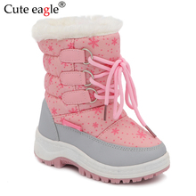 Cute eagle Kids Winter Girls Snow Boots Little Princess Outdoor Durable Felt with Zipper Toddler Anti-slip Shoes