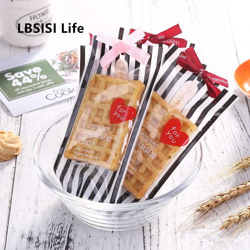100pcs Wedding Candy Cookie Bags Stripe DIY Gift Packaging Biscuits Birthday Party Favor Hang Hole Bag For Supermarket