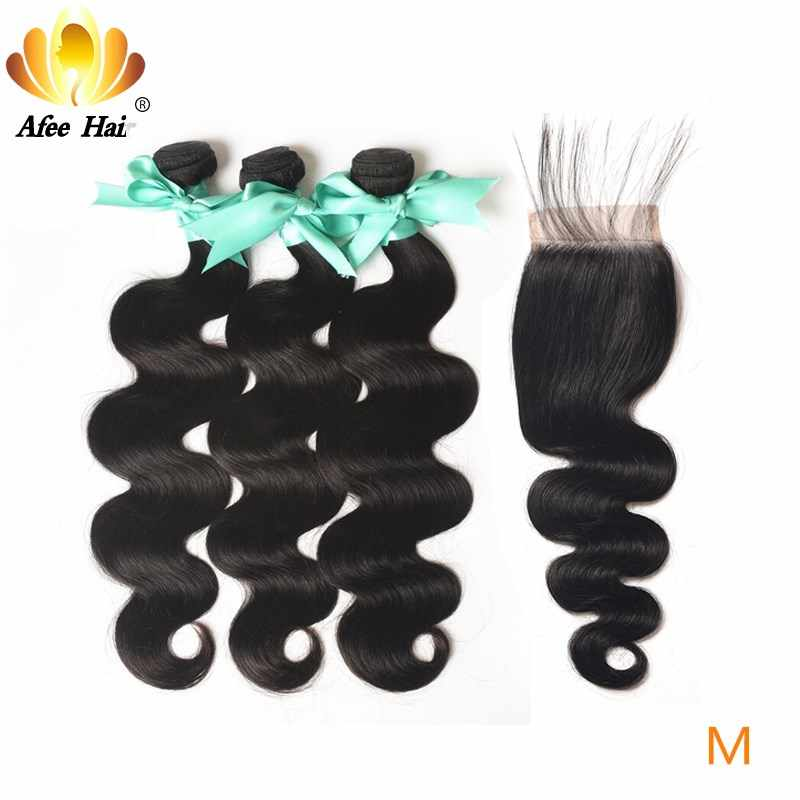 "Aliafee Hair Malaysian Body Wave Bundles With Closure 100% Human Hair Non-Remy Hair Weave 8""-28"" Inch Natural Color"