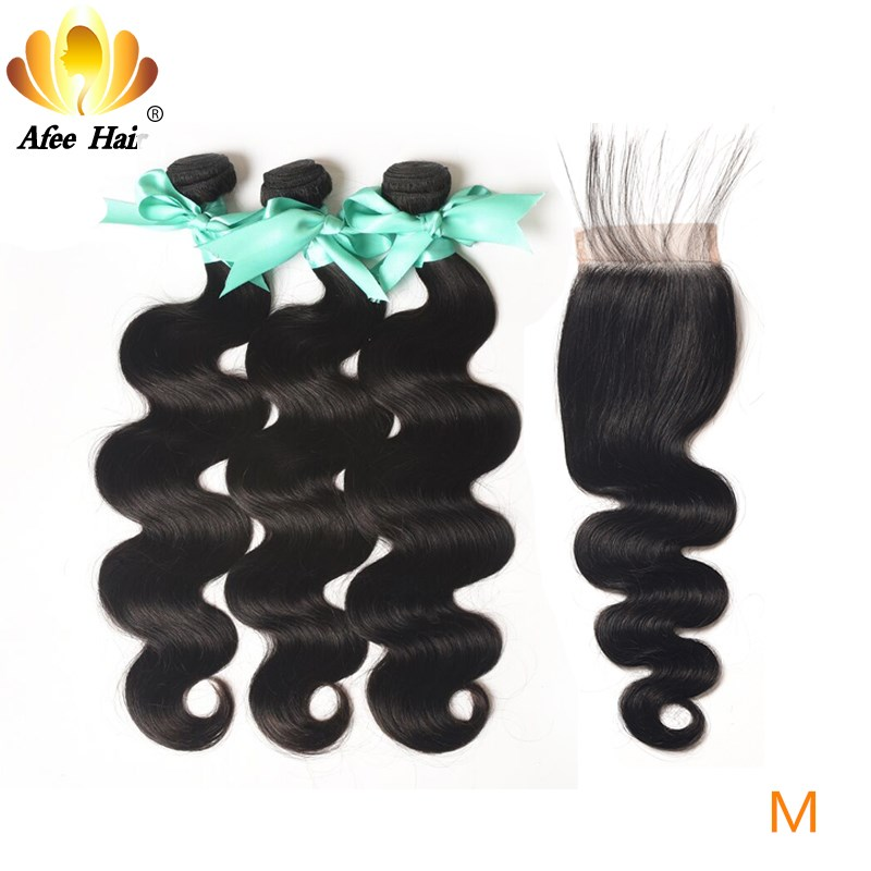 Aliafee Hair Malaysian Body Wave Bundles With Closure 100% Human Hair Non-Remy Hair Weave 8