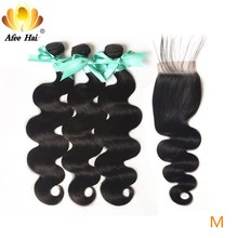 "Aliafee Hair Malaysian Body Wave Bundles With Closure 100% Human Hair Non Remy Hair Weave 8"" 28"" Inch Natural Color"