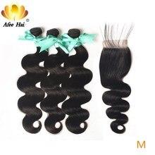 """Aliafee Hair malezyjski doczepy typu body wave z zamknięciem 100% ludzki włos nie Remy włosy wyplata 8 """" 28"""" Cal Natural Color"""