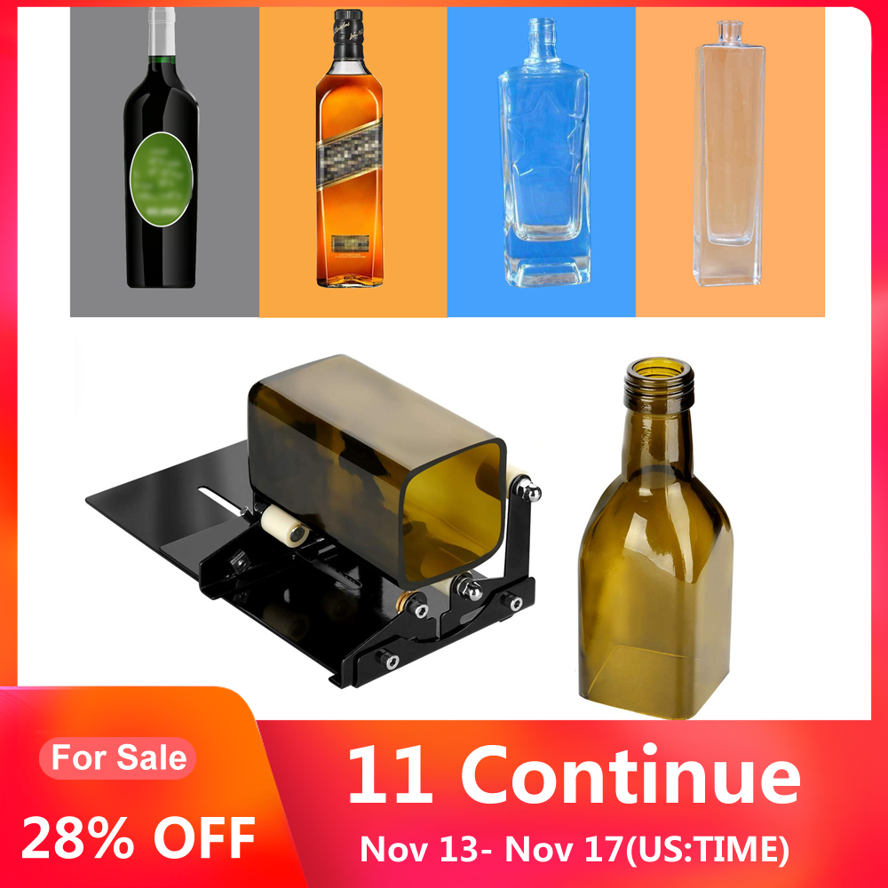Glass Bottle Cutter for DIY Glass Cutting Machine Metal Pad Bottle Holder Square and Round Wine Beer Glass Sculptures Cutter