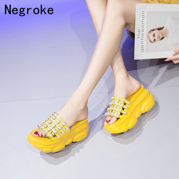 Sexy Pearl Wedges High Heels Women Slippers Ladies Summer Thick Platforms Shoes Flip Flops Outdoor Party Slides Sandals women slippers block high heels belt buckle slippers summer slides platform sandals women shoes slip on flip flops dropshipping