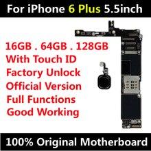 لوحة أم أصلية لهاتف iPhone 6 Plus مقاس 5.5 بوصة لوحة رئيسية مفتوحة من المصنع مع معرف باللمس وتحديث IOS يدعم الشحن المجاني