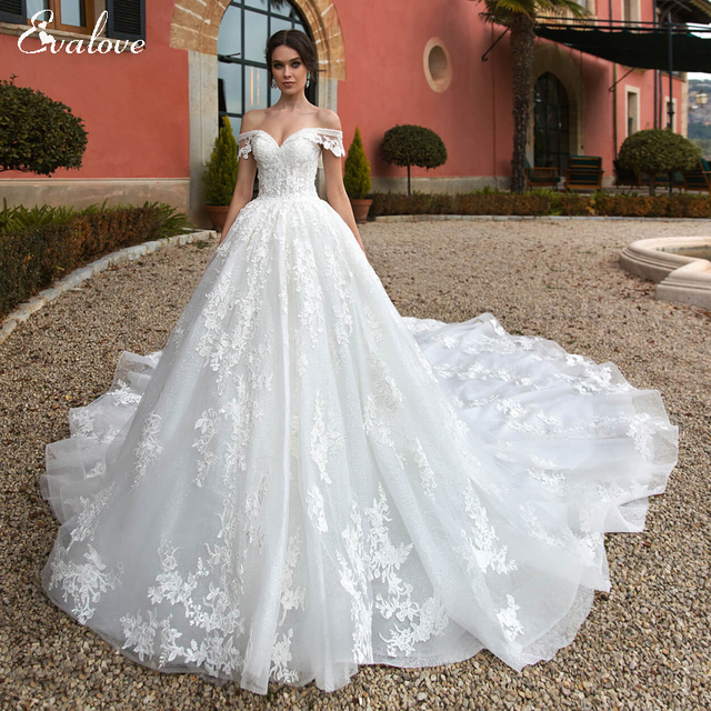 EVALOVE Gorgeous Appliques Royal Train A-Line Wedding Dress Sweetheart Neck Lace Up Beading Sparkly Tulle Princess Bridal Gown 1