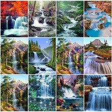 5D DIY Diamond Painting Waterfall Full Round Rhinestone Diamond Embroidery Landscape Cross Stitch Mosaic Home Decoration 5d diamond painting landscape waterfall diy full round diamond embroidery mosaic picture rhinestone home decor gift