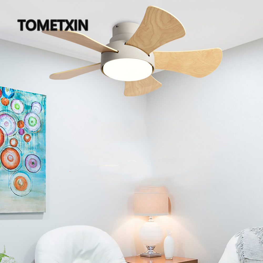 Wood Children's Room Ceiling Fan Lamp With Lights Remote Control Household Living Room Dining Room Kitchen Nordic Wooden Fans