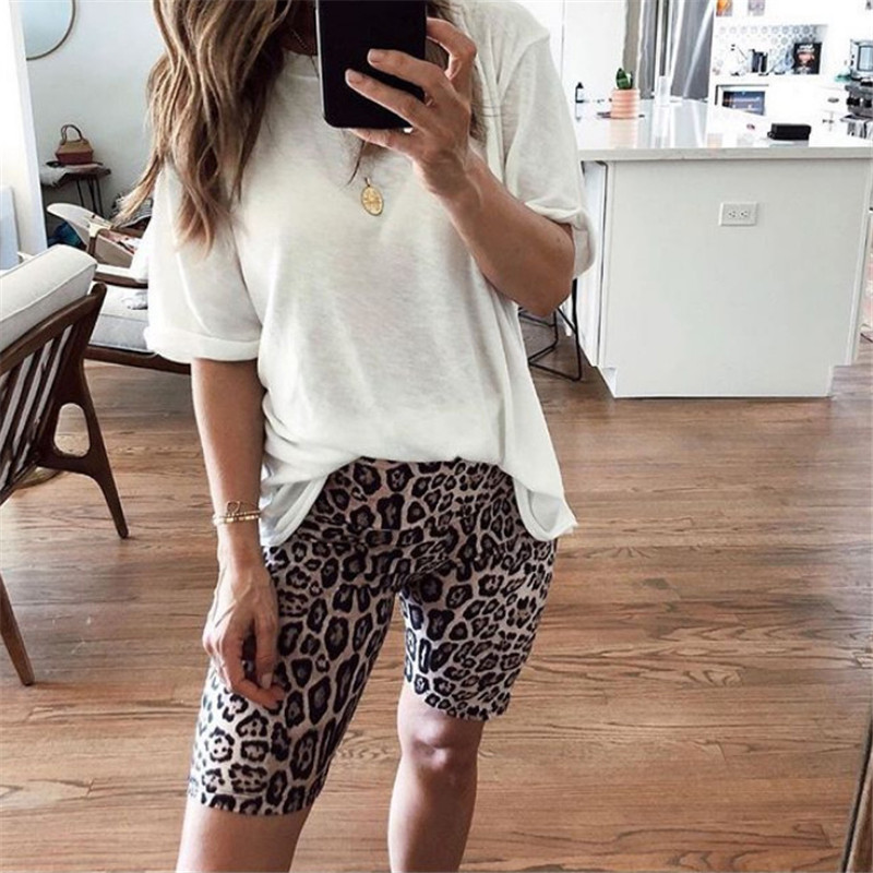 Leopard Print Fashion Elastic High Waist Short Pants Biking Women Ladies Casual Fitness Workout Leggings Summer Clothes Stretch