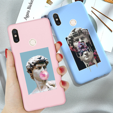 Phone Back Case Mi A3 Cover Matte Candy Color Statue Art Sof