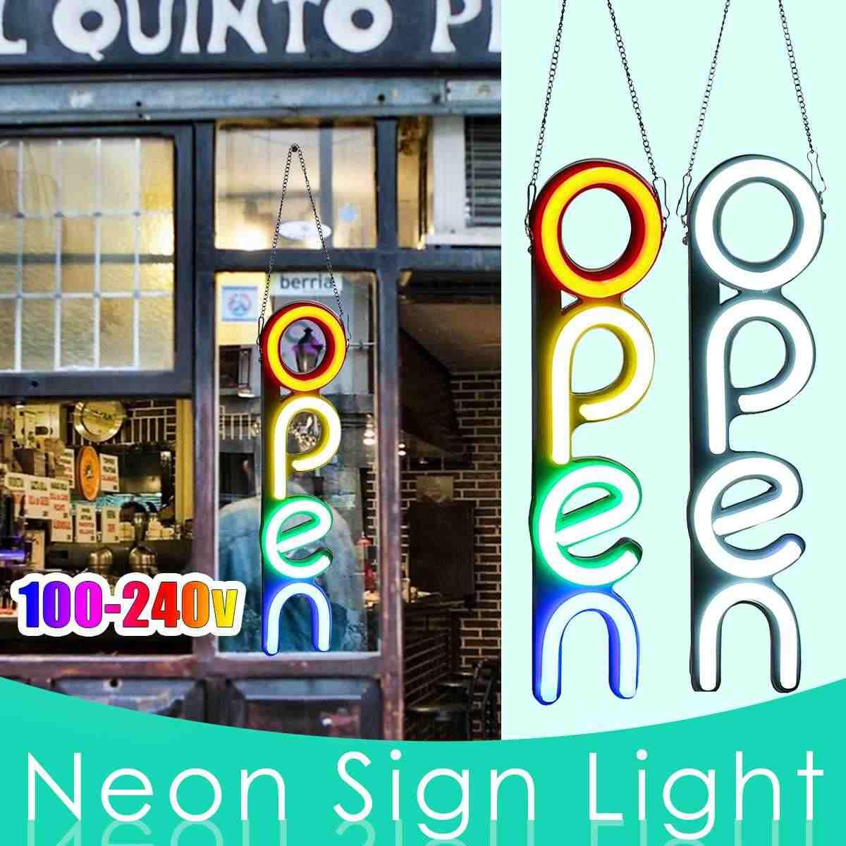 Luz de letrero de neón abierta blanca/colorida Luz de pared LED ilustraciones visuales lámpara de Bar decoración de la tienda del hogar Iluminación comercial