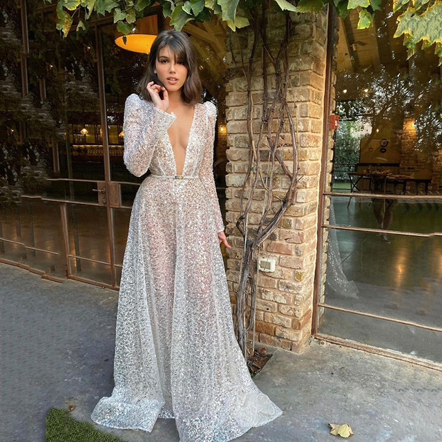 UZN Gorgeous Silver V-Neck Long Sleeves Sequined Prom Dress New Arrival Sexy A-Line Sequins Open Back Evening Dress Plus Size 1