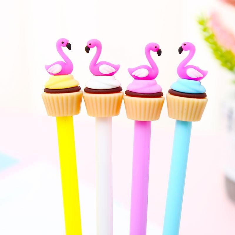 12pcs Korean Creative Flamingo Gel Pen Kawaii Stationery Store Supply Funny Cute Kids Stationary School Material 0.5 Thing Item