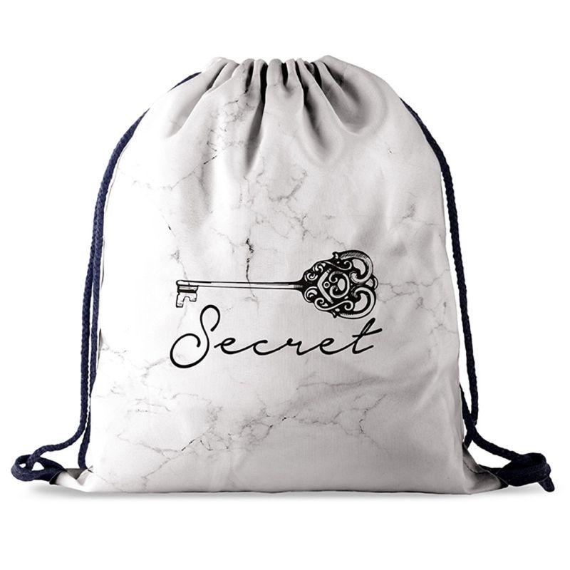 Printed Pattern Drawstring Bag Gym Backpack Travel Sports Daypack Beach Rucksack