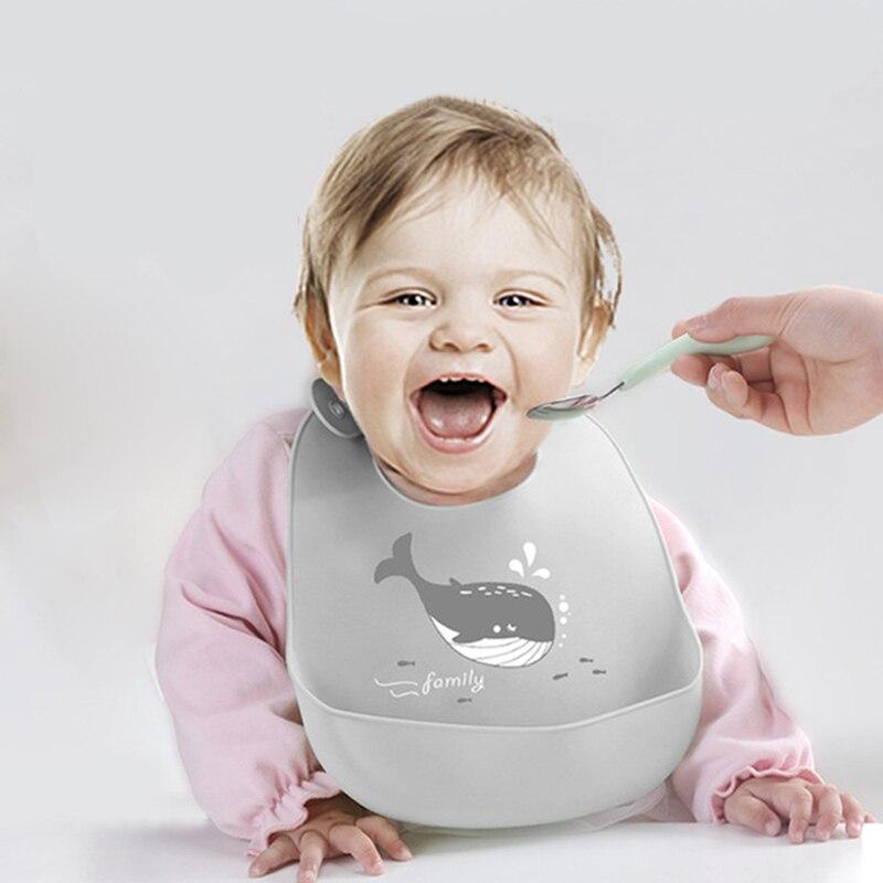 New Baby Bib Adjustable Animal Picture Waterproof Saliva Dripping Bibs Soft Edible Silicone Ssaliva Towel 1pcs