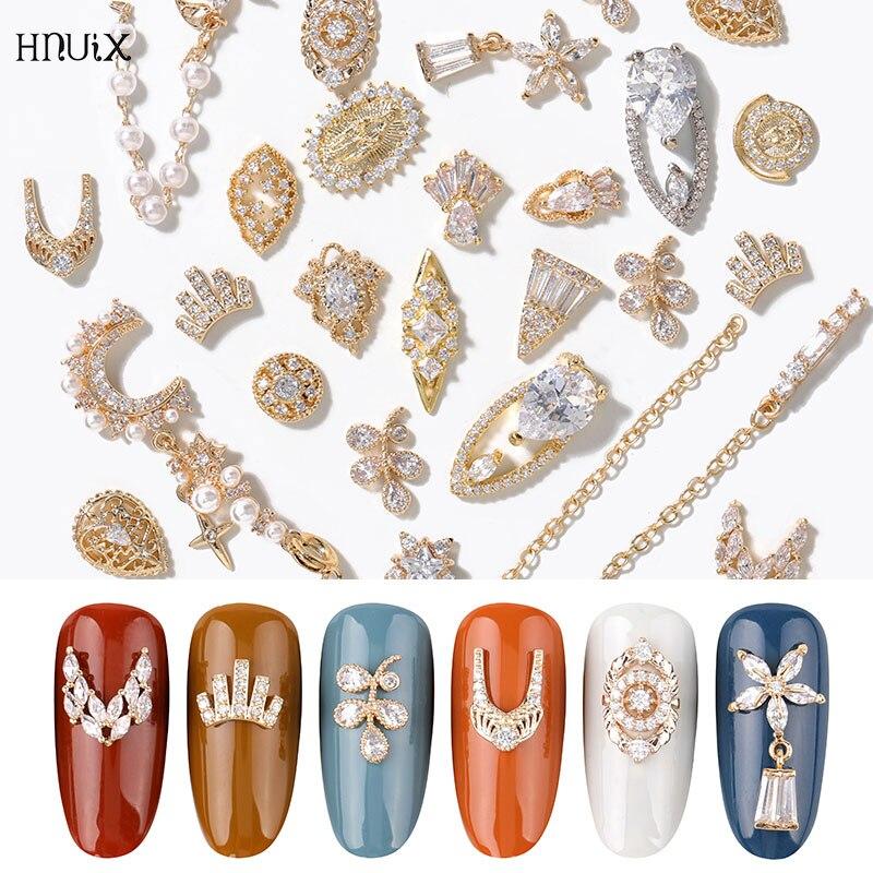 HNIUX 2 штуки 3D металлический Циркон дизайн ногтей ювелирные изделия японский жемчуг кулон украшения высшего качества Кристалл Маникюр брилл...
