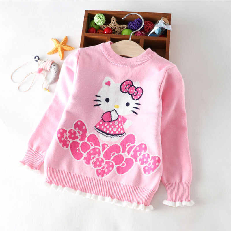 Hello Kitty Kids Sweater Red Cute Baby Girls Pullover Sweaters Kersttrui New Collection Deal Baby Girl Winter Clothes Pull Noel