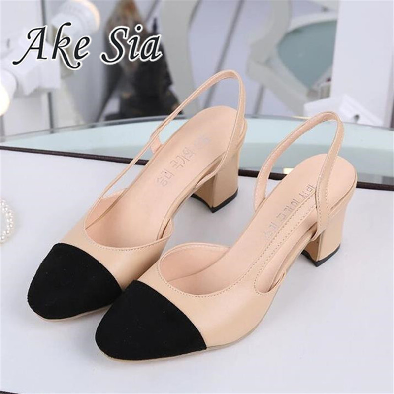 2019 Hot Sale Summer Women Shoes Dress Shoes Mid Heel Square Head Fashion Shoes Wedding Party Sandals Casual Shoes Women
